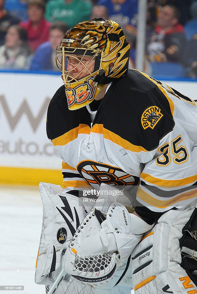 Anton Khudobin #35 of the Boston Bruins tends goal against the Buffalo Sabres on February 10, 2013 at the First Niagara Center in Buffalo, New York.