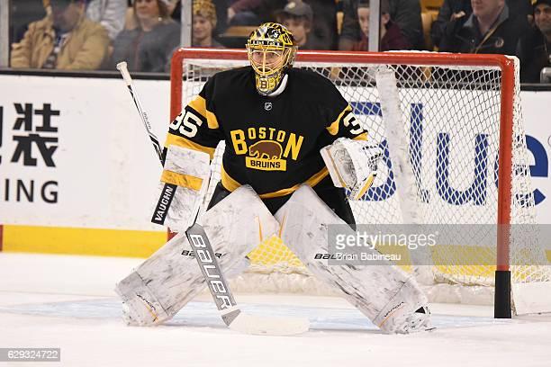 Anton Khudobin of the Boston Bruins warms up against the Toronto Maple Leafs at the TD Garden on December 10 2016 in Boston Massachusetts