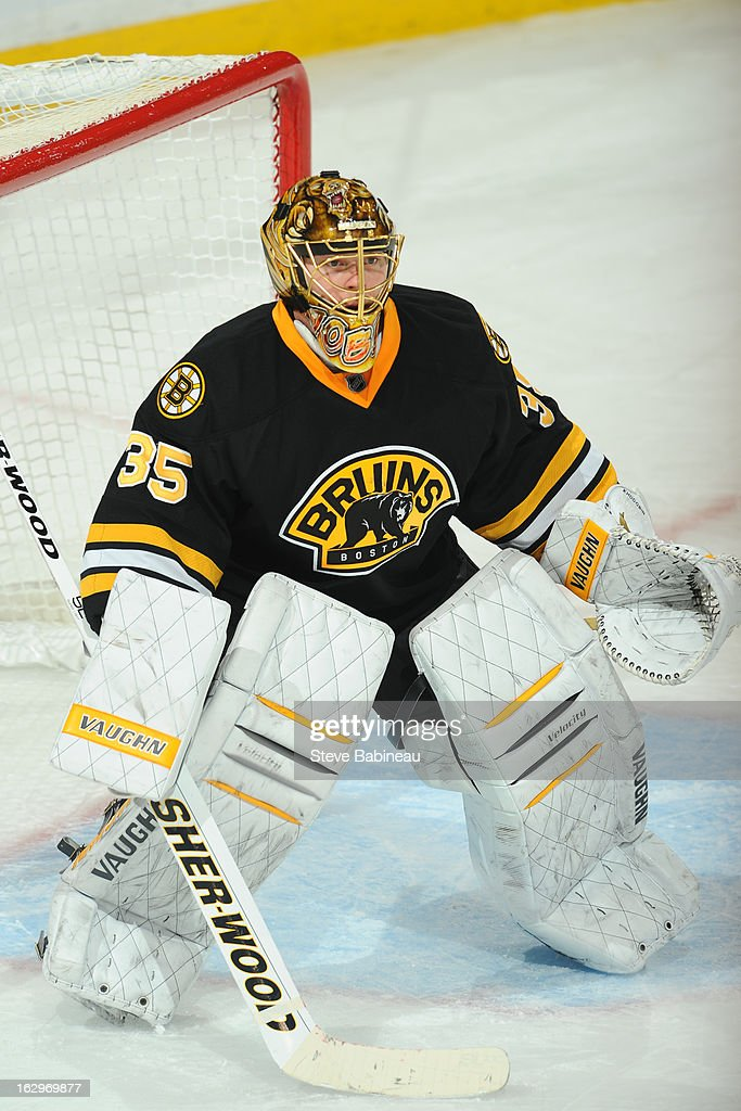 <a gi-track='captionPersonalityLinkClicked' href=/galleries/search?phrase=Anton+Khudobin&family=editorial&specificpeople=722106 ng-click='$event.stopPropagation()'>Anton Khudobin</a> #35 of the Boston Bruins watches the play against the Tampa Bay Lightning at the TD Garden on March 2, 2013 in Boston, Massachusetts.