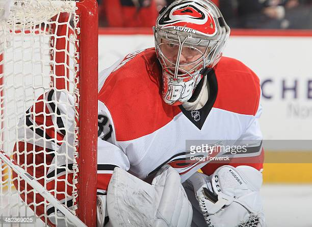 Anton Khudobin of the Carolina Hurricanes crouches in the crease to protect the net during their NHL game against the Columbus Blue Jackets at PNC...