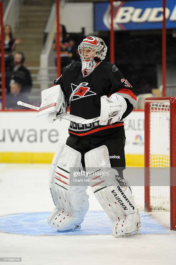 Anton Khudobin of the Carolina Hurricanes during their game against the New York Rangers at PNC Arena on March 7 2014 in Raleigh North Carolina The...