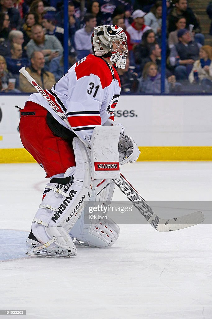 Anton Khudobin of the Carolina Hurricanes lines up for a faceoff during the game against the Columbus Blue Jackets on January 10 2014 at Nationwide...