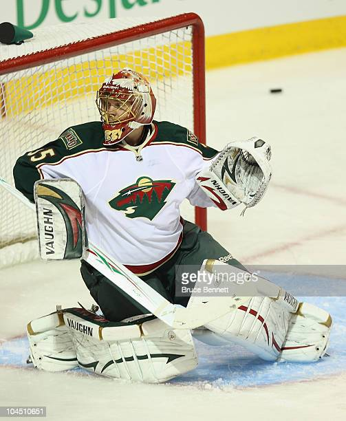 Anton Khudobin of the Minnesota Wild tends net against the Montreal Canadiens at the Bell Centre on September 26 2010 in Montreal Canada The...