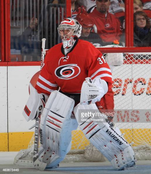 Anton Knudobin of the Carolina Hurricanes stands tall in the crease during their NHL game against the Nashville Predators at PNC Arena on January 5...