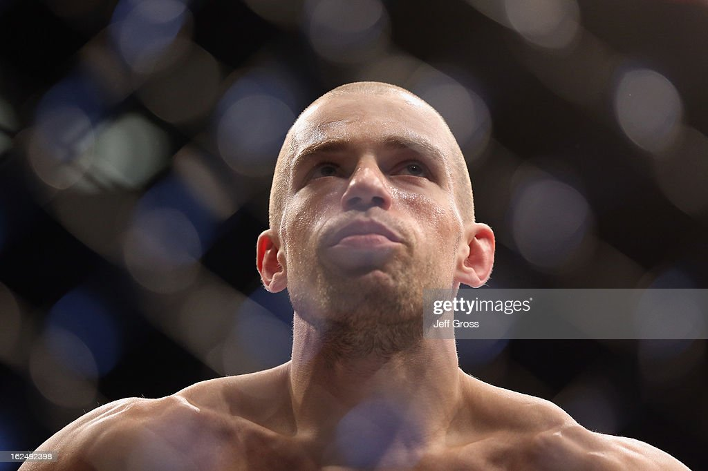 Anton Kuivanen of Finland looks on prior to the start of his UFC Lightweight bout against Michael Chiesa at Honda Center on February 23, 2013 in Anaheim, California.
