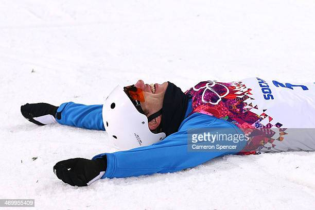 Anton Kushnir of Belarus celebrates winning gold in the Freestyle Skiing Men's Aerials Finals on day ten of the 2014 Winter Olympics at Rosa Khutor...