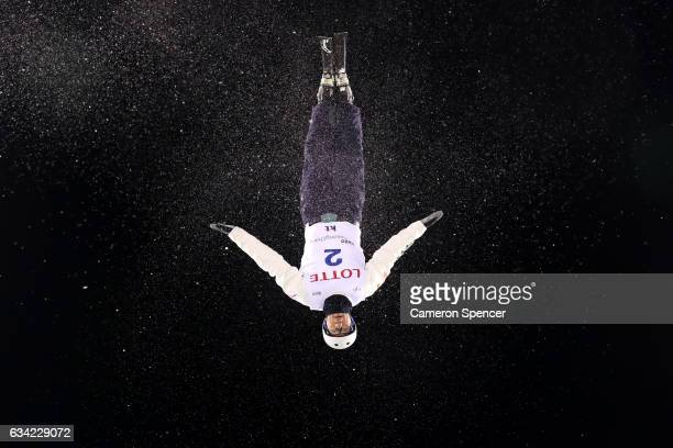 Anton Kushnir of Belarus performs an aerial during an Aerials training session prior to the FIS Freestyle World Cup at Bokwang Snow Park on February...