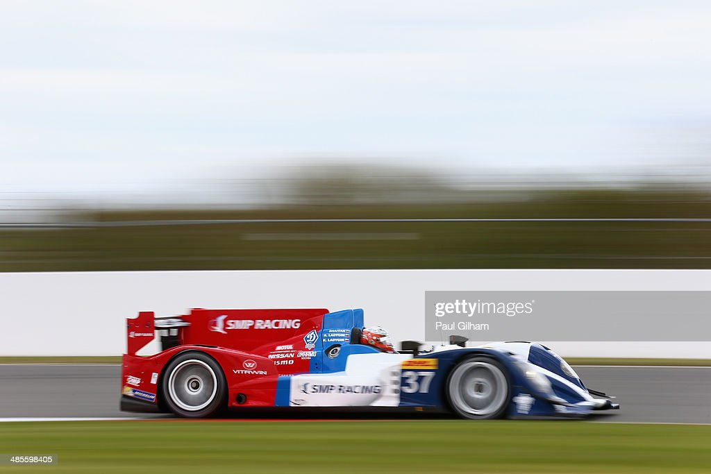 Anton Ladygin of Russia drives the #37 SMP Racing Oreca 03 Nissan LMP2 during qualifying for the FIA World Endurance Championship 6 Hours of Silverstone sportscar race at the Silverstone Circuit on April 19, 2014 in Northampton, England.