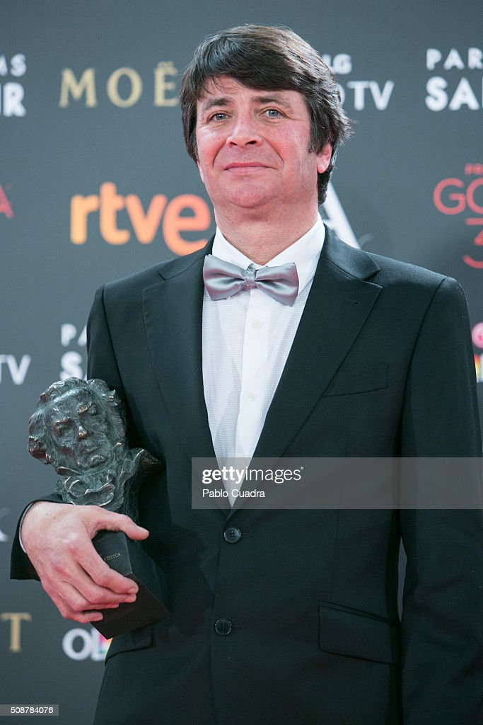 Anton Laguna holds the award for production design during the 30th edition of the Goya Cinema Awards at Madrid Marriott Auditorium on February 6, 2016 in Madrid, Spain.