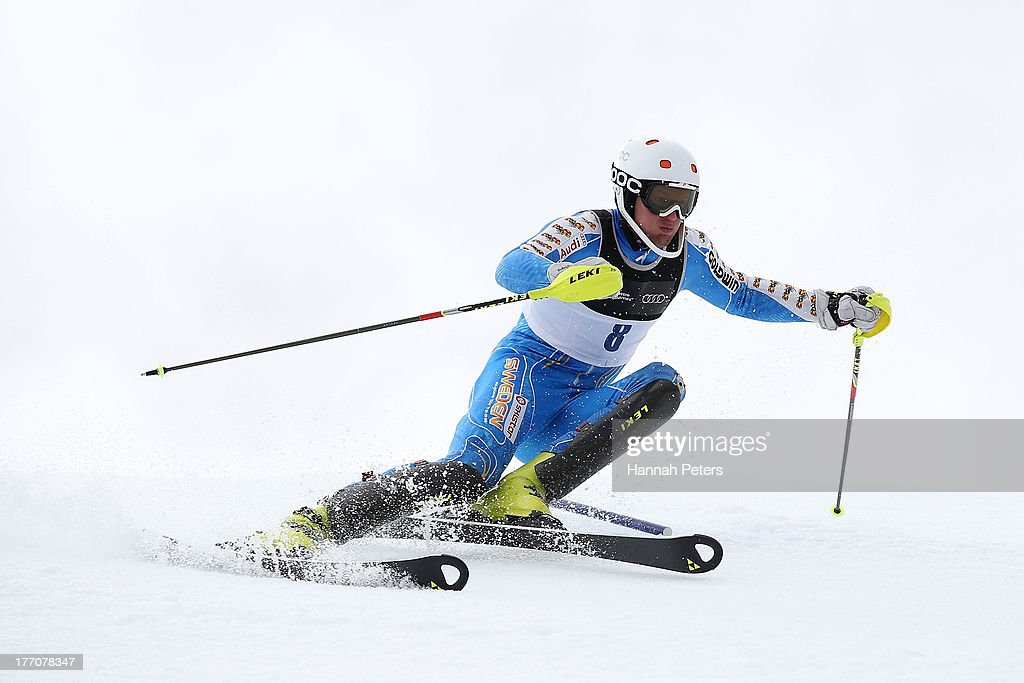 Anton Lahdenperae of Sweden competes during the Alpine Slalom (FIS Australia New Zealand Cup) during day seven of the Winter Games NZ at Coronet Peak on August 21, 2013 in Queenstown, New Zealand.