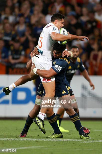 Anton Leinert Brown of the Chiefs in the tackle of Malakai Fekitoa of the Highlanders during the round one Super Rugby match between the Highlanders...