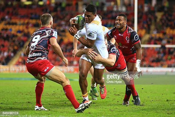 Anton Lienert Brown of the Chiefs makes a break to score a try during the round 16 Super Rugby match between the Reds and the Chiefs at Suncorp...