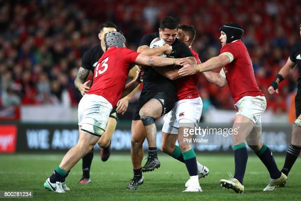Anton LienertBrown is tackled during the Test match between the New Zealand All Blacks and the British Irish Lions at Eden Park on June 24 2017 in...