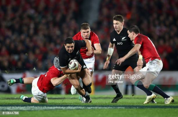 Anton LienertBrown of the All Blacks breaks through during the third Test match between the New Zealand All Blacks and the British Irish Lions at...