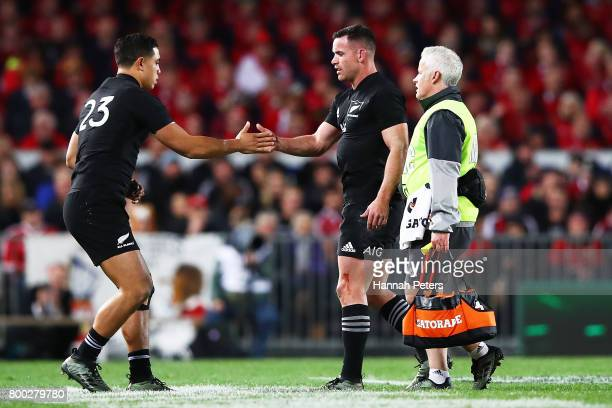 Anton LienertBrown of the All Blacks comes on for injured Ryan Crotty of the All Blacks during the Test match between the New Zealand All Blacks and...