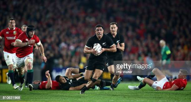 Anton LienertBrown of the All Blacks in action during the third Test match between the New Zealand All Blacks and the British Irish Lions at Eden...