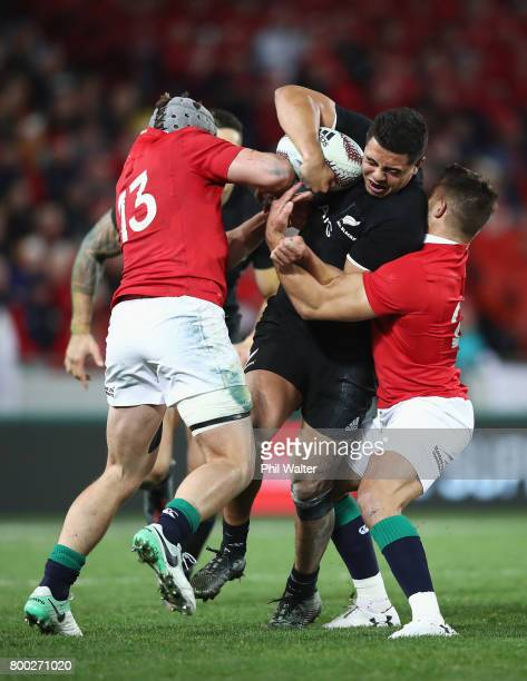 Anton LienertBrown of the All Blacks is tackled by Jonathan Davies of the Lions during the first test match between the New Zealand All Blacks and...