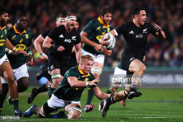 Anton LienertBrown of the All Blacks makes a break during the Rugby Championship match between the New Zealand All Blacks and the South African...