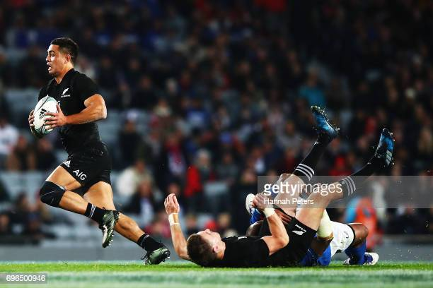 Anton LienertBrown of the All Blacks makes a break during the International Test match between the New Zealand All Blacks and Samoa at Eden Park on...