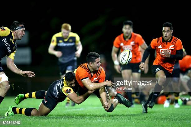 Anton LienertBrown of the All Blacks passes during the Game of Three Halves between the All Blacks and Taranaki at ECOLight Stadium on August 11 2017...