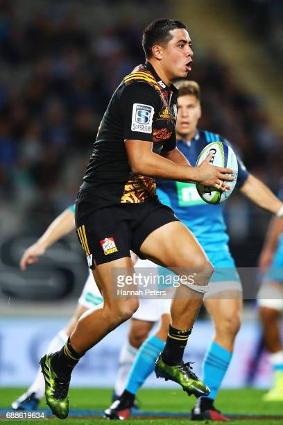 Anton LienertBrown of the Chiefs makes a break during the round 14 Super Rugby match between the Blues and the Chiefs and Eden Park on May 26 2017 in...