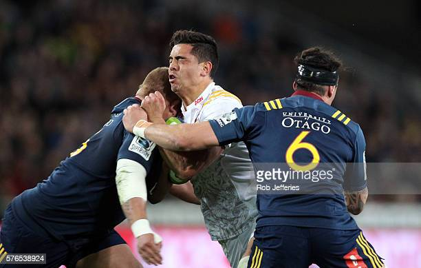 Anton LienertBrown of the Chiefs on the charge during the round 17 Super Rugby match between the Highlanders and the Chiefs at Forsyth Barr Stadium...