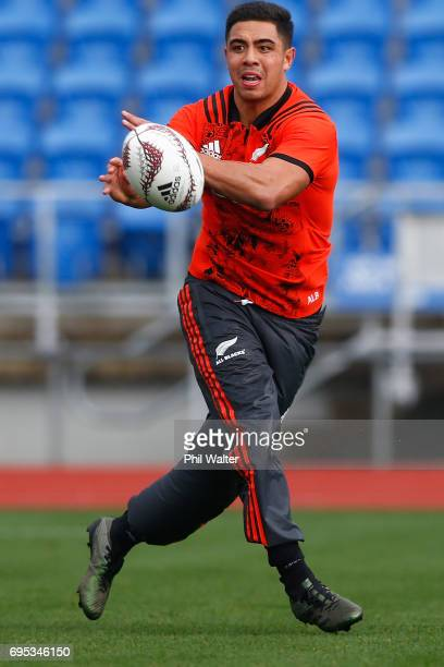 Anton LienertBrown passes during a New Zealand All Blacks training session at Trusts Stadium on June 13 2017 in Auckland New Zealand