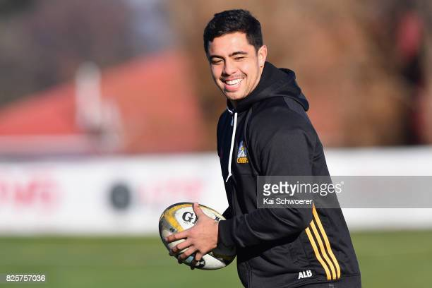 Anton LienertBrown reacting during a New Zealand All Blacks training session on August 3 2017 in Christchurch New Zealand