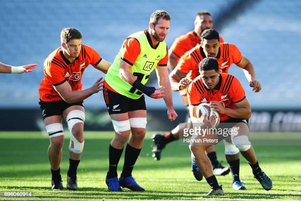 Anton LienertBrown runs through drills during a New Zealand All Blacks training session at Eden Park on June 15 2017 in Auckland New Zealand
