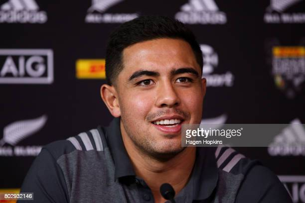 Anton LienertBrown speaks to media during a New Zealand All Blacks press conference on June 29 2017 in Wellington New Zealand