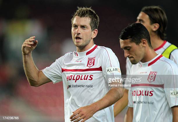 Anton Mueller and Tony Schmidt of Halle during the 3rd Liga match between Hallescher FC and RB Leipzig at Erdgas Sportpark on July 19 2013 in...
