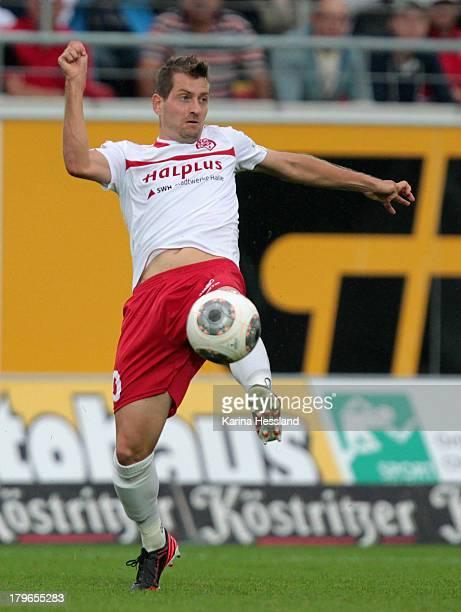 Anton Mueller of Halle during the 3rd Liga match between Hallescher FC and VfL Osnabrueck at Erdgas Sportpark on September 03 2013 in HalleGermany