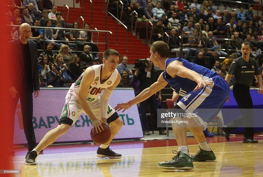 Anton Pushkov (R) of Zenit St.-Petersburg in action against Matt Janning (L) of Lokomotiv-Kuban Krasnodar during VTB-League basketball match between Zenit St.Petersburg and Lokomotiv-Kuban Krasnodar at the SIBUR Arena in Saint-Petersburg , Russia on April 28, 2016.