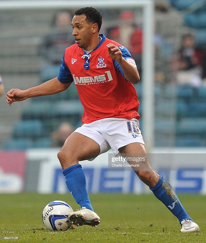 Anton Robinson of Gillingham attacks during the npower League Two match between Gillingham and Accrington Stanley at The Priestfield Stadium on March 23, 2013 in Gillingham, England.