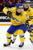 Anton Rodin of Team Sweden skates during the 2010 IIHF World Junior Championship Tournament Semifinal game against Team USA on January 3 2010 at the...
