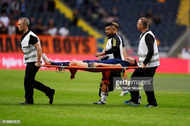 Anton Salétros of AIK injured during the UEFA Europa League qualifying match between AIK and FK Zeljeznicar at Friends arena on July 20 2017 in Solna...