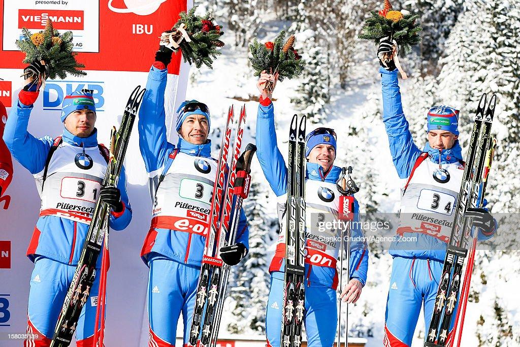 Anton Shipulin, Andrei Makoveev, Evgeny Ustyugov, Dmitry Malyshko of Russia take 3rd place during the IBU Biathlon World Cup Men's Relay on December 09, 2012 in Hochfilzen, Austria.