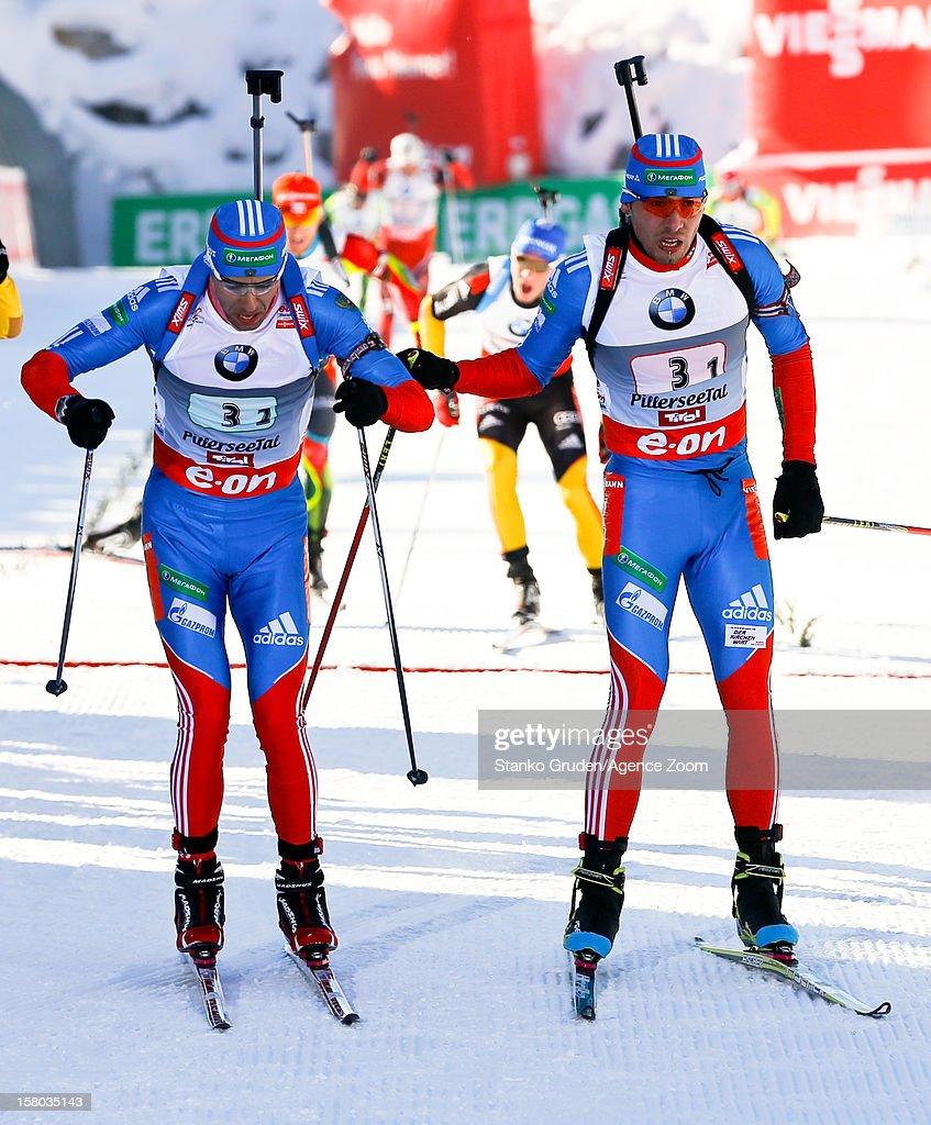 Anton Shipulin, Andrei Makoveev of Russia take 3rd place during the IBU Biathlon World Cup Men's Relay on December 09, 2012 in Hochfilzen, Austria.