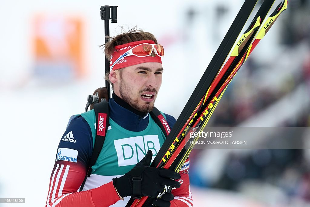 Anton Shipulin from Russia reacts after competing in the men's IBU Biathlon World Cup 10 km Sprint in Oslo, on February 14 , 2015.