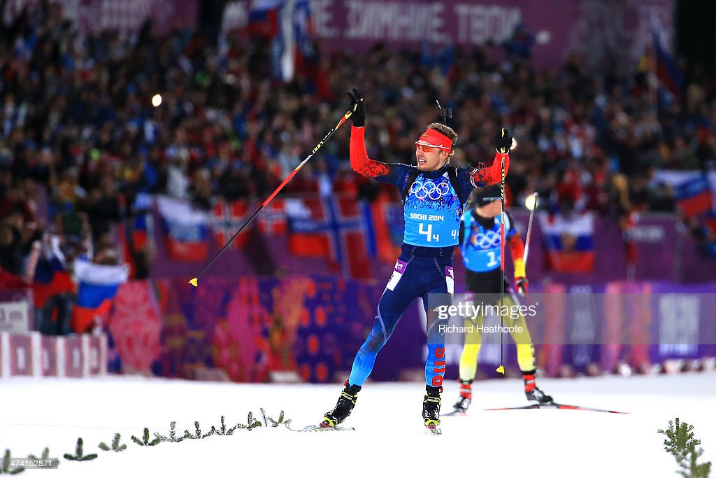 Anton Shipulin of Russia celebrates winning the gold medal during the Men's 4 x 75 km Relay during day 15 of the Sochi 2014 Winter Olympics at Laura...