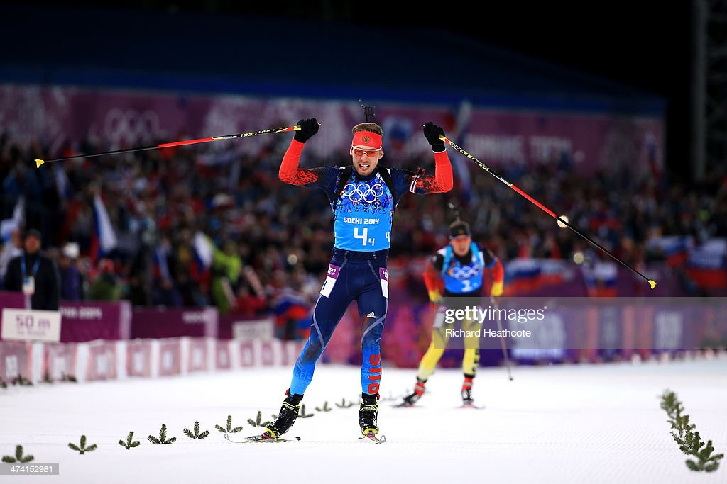 Anton Shipulin of Russia celebrates winning the gold medal during the Men's 4 x 7.5 km Relay during day 15 of the Sochi 2014 Winter Olympics at Laura Cross-country Ski & Biathlon Center on February 22, 2014 in Sochi, Russia.