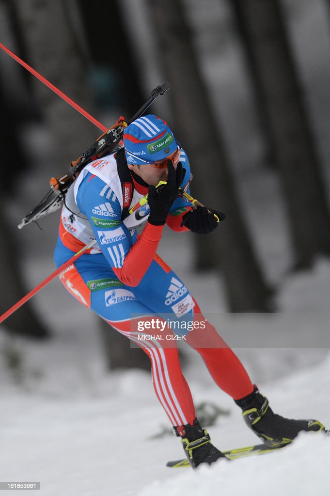 Anton Shipulin of Russia competes in the men's 15 km mass start event as part of IBU Biathlon World Championships in Nove Mesto, Czech Republic, on February 17, 2013. Tarjei Boe of Norway won the race ahead of Anton Shipulin of Russia and Emil Hegle Svendsen of Norway.