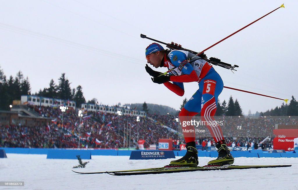 Anton Shipulin of Russia competes in the Men's 15km Mass Start during the IBU Biathlon on February 17, 2013 in Nove Mesto na Morave, Czech Republic.