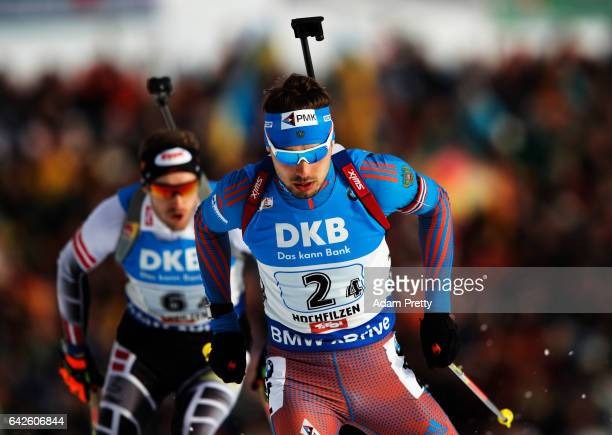 Anton Shipulin of Russia in action during the Men's 4x 75km relay competition of the IBU World Championships Biathlon 2017 at the Biathlon Stadium...