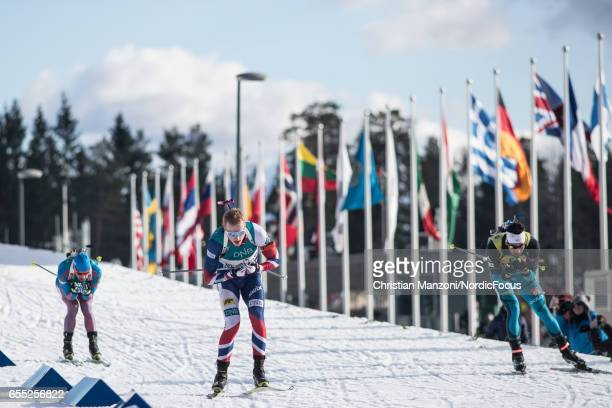 Anton Shipulin of Russia Johannes Thingnes Boe of Norway and Martin Fourcade of France compete during the 15 km men's Mass Start on March 18 2017 in...