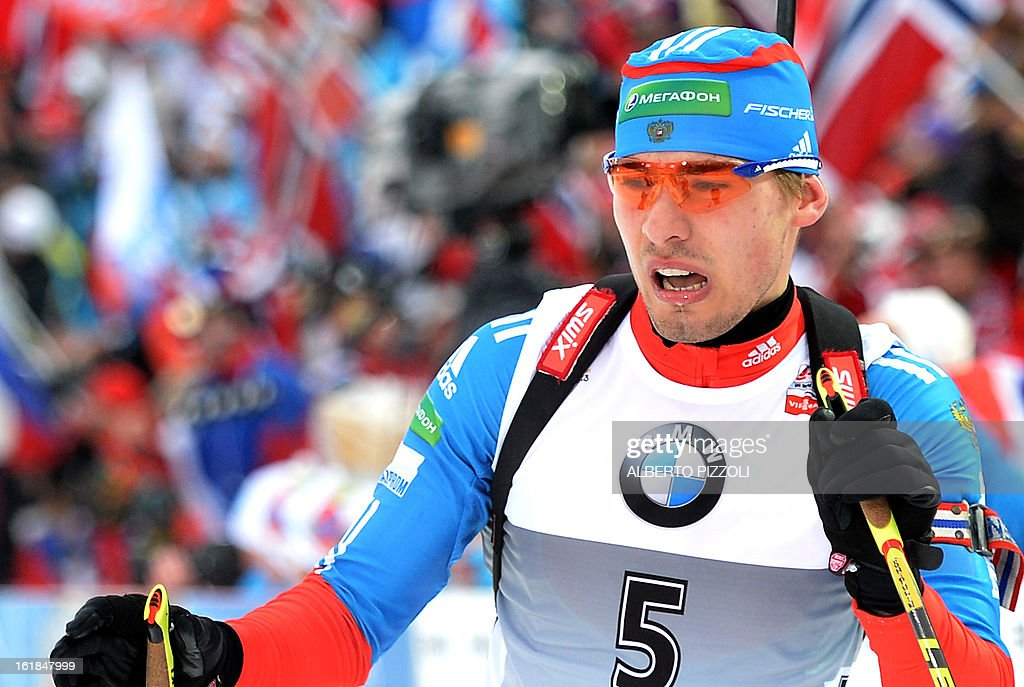 Anton Shipulin of Russia reacts in the finish area after the men's 15 km mass start as part of the IBU Biathlon World Championships in Nove Mesto, Czech Republic, on February 17, 2013. Tarjei Boe of Norway won the race ahead of Anton Shipulin of Russia and Emil Hegle Svendsen of Norway.