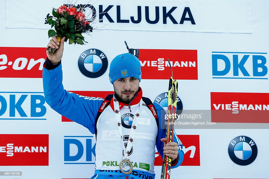 Anton Shipulin of Russia takes 1st place competes during the IBU Biathlon World Cup Men's and Women's Mass Start on December 21, 2014 in Pokljuka, Slovenia.