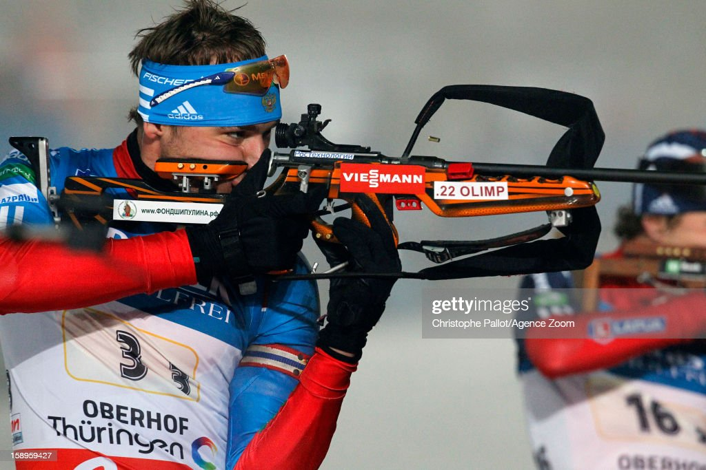 Anton Shipulin of Russia takes 1st place during the IBU Biathlon World Cup Men's Relay on January 04, 2013 in Oberhof, Germany.