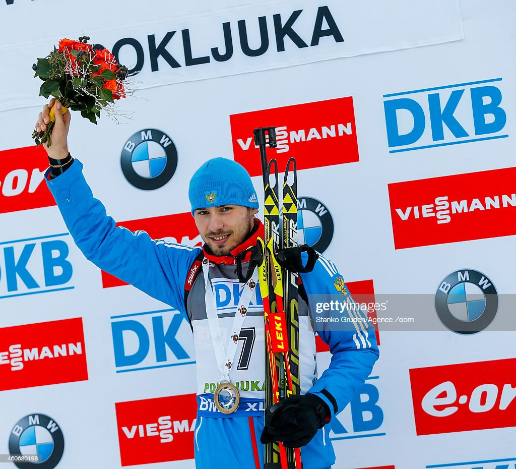 <a gi-track='captionPersonalityLinkClicked' href=/galleries/search?phrase=Anton+Shipulin&family=editorial&specificpeople=6678388 ng-click='$event.stopPropagation()'>Anton Shipulin</a> of Russia takes 1st place during the IBU Biathlon World Cup Men's Sprint on December 19, 2014 in Pokljuka, Slovenia.