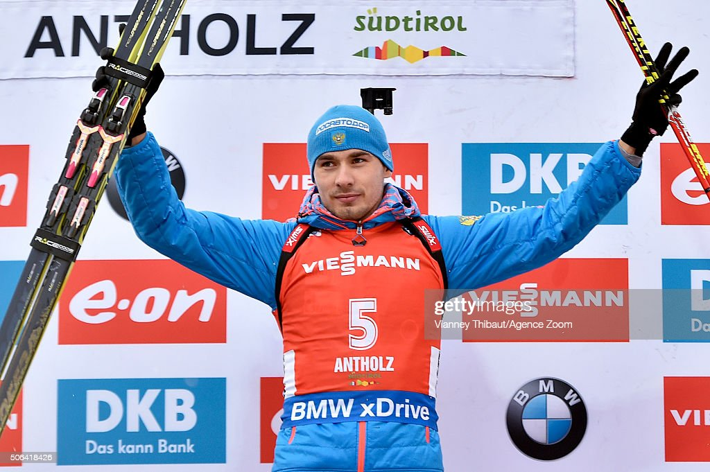 Anton Shipulin of Russia takes 1st place during the IBU Biathlon World Cup Men's and Women's Pursuit on January 23, 2016 in Antholz-Anterselva, Italy.